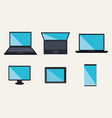 electronics devices set icons vector image vector image