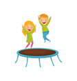 energetic children jumping on trampoline joyful vector image