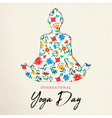 floral yoga day card girl doing meditation vector image vector image