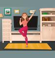 girl dance home cartoon vector image vector image