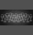 Graphic row of wine glasses isolated on white