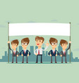 happy business team with a banner isolated vector image