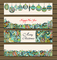 Happy New Year Christmas Banner Set vector image