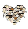 Happy peoples heart shape for your design vector image vector image