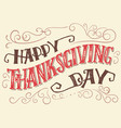 happy thanksgiving day hand-lettering sign vector image