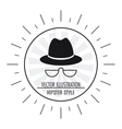 hat and glasses icon Hipster Style design vector image vector image