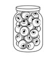 human eyes in glass jar coloring book vector image