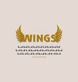 initial sans serif font with wings silhouettes vector image vector image