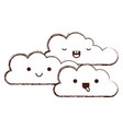 kawaii cumulus clouds icon flat in monochrome vector image vector image