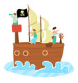 kids pirate ship sailing in sea adventure vector image vector image