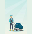 man cleaning the store floor with a machine vector image vector image