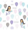 mermaid birthday seamless pattern background cute vector image vector image
