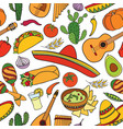 mexican food and musical instruments seamless vector image vector image