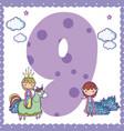 nine number cartoon vector image