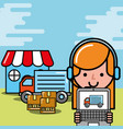 operator girl market truck laptop boxes logistic vector image vector image