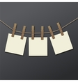 photo frame with clothespin isolated Realistic vector image