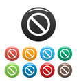 prohibition sign or no sign icons set vector image