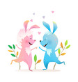 rabbits or bunnies jumping dancing kids cartoon vector image