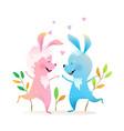 rabbits or bunnies jumping dancing kids cartoon vector image vector image