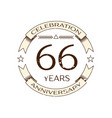 realistic sixty six years anniversary celebration vector image vector image