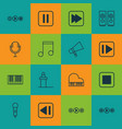 set of 16 multimedia icons includes sound box vector image vector image