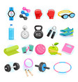 set of exercises equipment icons color vector image