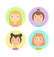 set of four girls faces vector image vector image