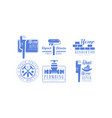 set of monochrome logos for plumbing and vector image vector image