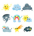 set of weather forecast icons with funny faces vector image