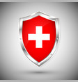 switzerland flag on metal shiny shield vector image vector image