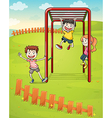 Three kids playing in the park vector image vector image