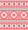 Traditional folk knitted red emboidery pattern vector image vector image