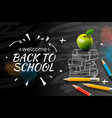 welcome back to school web banner doodle on black vector image vector image