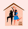with dancing girl and black cat at house stay vector image