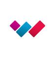 letter w logo concept red blue violet vector image