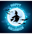 Flying witch on moon background Halloween concept vector image
