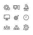 9 seo line icons vector image vector image