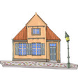 a yellow house with a tiled roof vector image