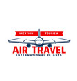 air travel icon with plane flying in sky vector image
