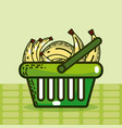 basket with bananas super market products vector image vector image