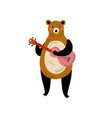 bear standing on two legs playing guitar animal vector image vector image