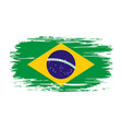 brazilian flag brush grunge background vector image
