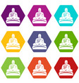 buddha statue icon set color hexahedron vector image vector image