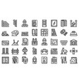 builder icons set outline style vector image vector image