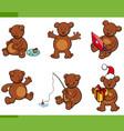 cartoon bear animal characters set vector image