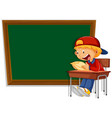 chalkboard banner with boy vector image vector image