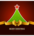 Christmas green tree and golden bow vector image vector image
