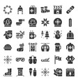 christmas related solid style icon set vector image vector image