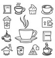 coffee outline icon set with accessories and vector image vector image