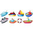 Collection of toy boats vector image vector image